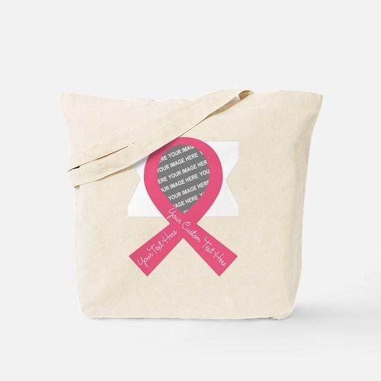 CUSTOM TEXT PHOTO Pink Ribbon Tote Bag