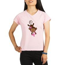 Breast Cancer Ribbon Monkey Performance Dry T-Shir