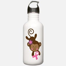 Breast Cancer Ribbon Monkey Water Bottle
