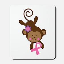 Breast Cancer Ribbon Monkey Mousepad