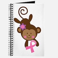 Breast Cancer Ribbon Monkey Journal