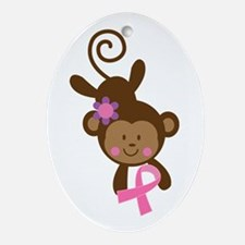 Breast Cancer Ribbon Monkey Ornament (Oval)