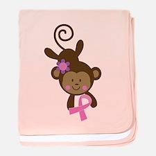 Breast Cancer Pink Ribbon Monkey baby blanket