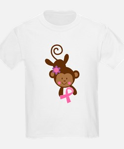 Breast Cancer Pink Ribbon Monkey T-Shirt