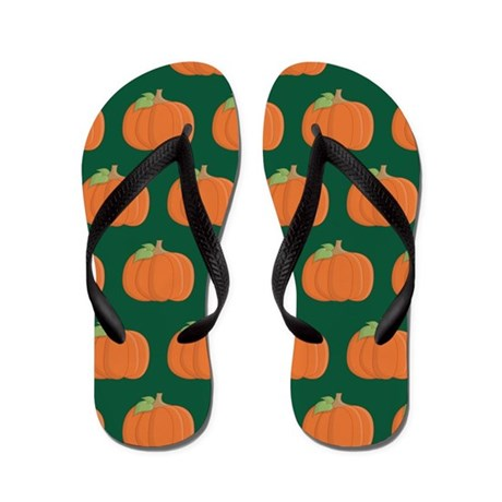 Halloween Fall Pumpkin Pattern Flip Flops