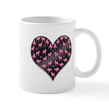 Black Pug Heart Mugs