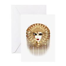 Golden Venice Carnival Mask Greeting Cards