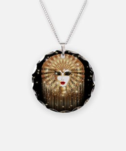 Golden Venice Carnival Mask Necklace