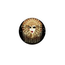 Golden Venice Carnival Mask Mini Button