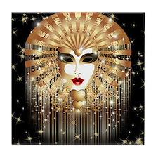 Golden Venice Carnival Mask Tile Coaster
