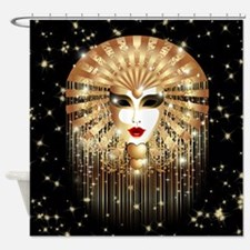 Golden Venice Carnival Mask Shower Curtain