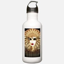 Golden Venice Carnival Mask Water Bottle