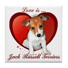 Jack Russell Heart Tile Coaster