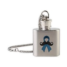 Prostate Awareness Ribbon Moustache Flask Necklace