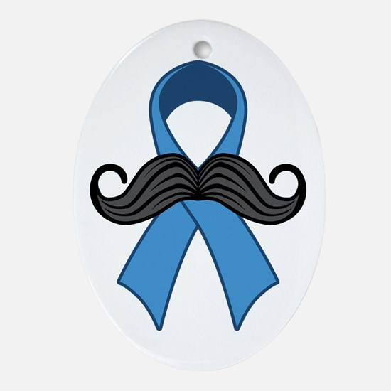 Prostate Awareness Ribbon Moustache Ornament (Oval