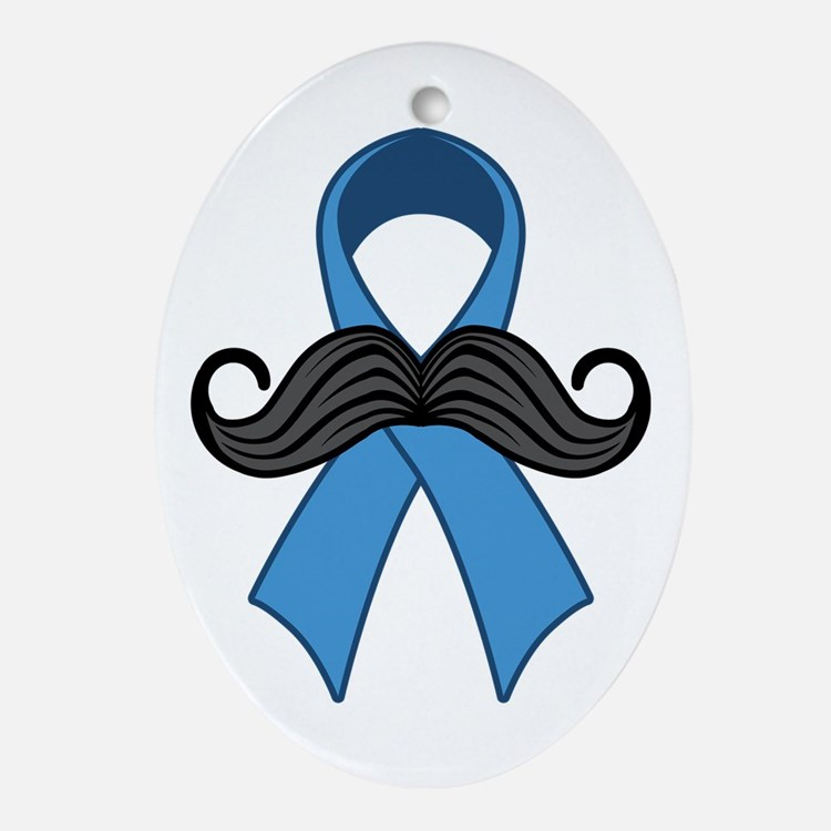 Prostate Awareness Ribbon Moustache Ornament (Oval