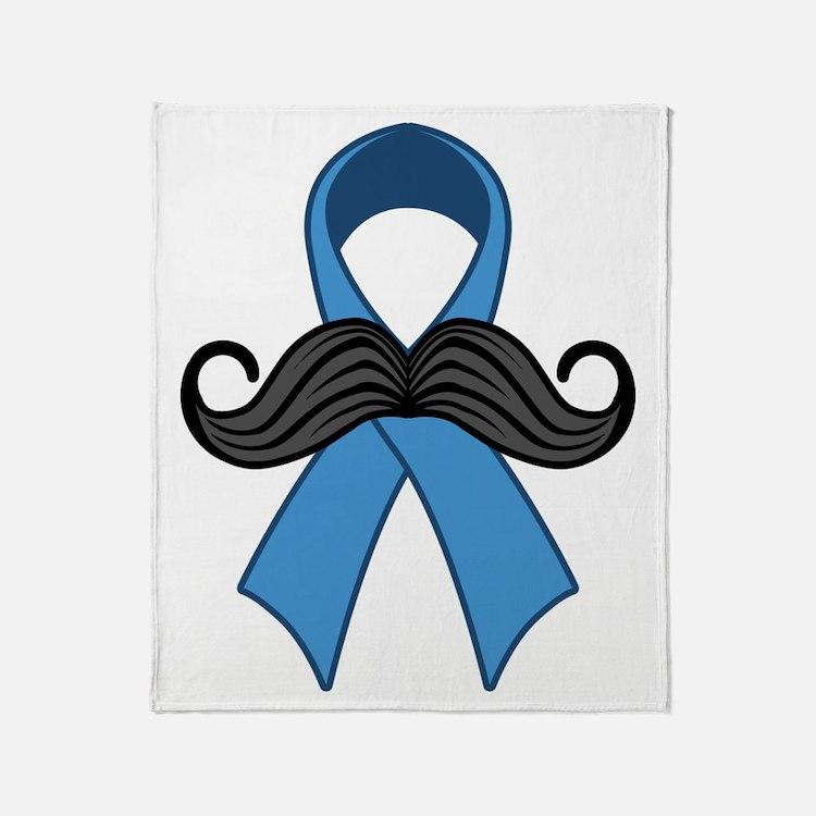 Prostate Awareness Ribbon Moustache Throw Blanket