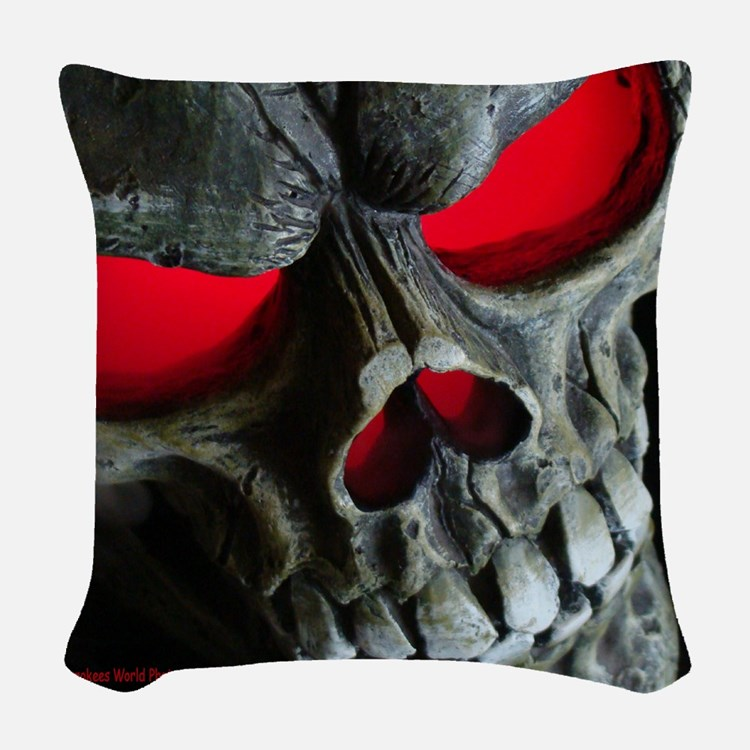 Red Eyed Skull Woven Throw Pillow
