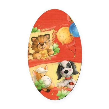 Puppets, cat, dog Oval Car Magnet