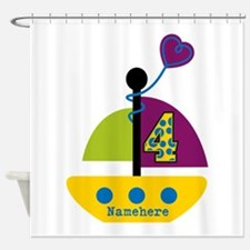 Personalized 4th Birthday Sailboat Shower Curtain