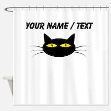 Custom Black Cat Face Shower Curtain