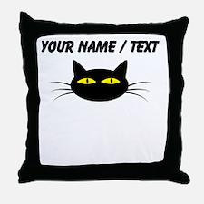 Custom Black Cat Face Throw Pillow