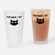 Custom Black Cat Face Drinking Glass