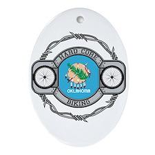 Oklahoma Biking Oval Ornament