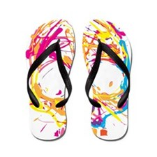 Skull, Paint, Art, Cool Flip Flops