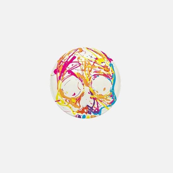Skull, Paint, Art, Cool Mini Button