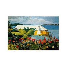 Winslow Homer - Flower Garden and Rectangle Magnet