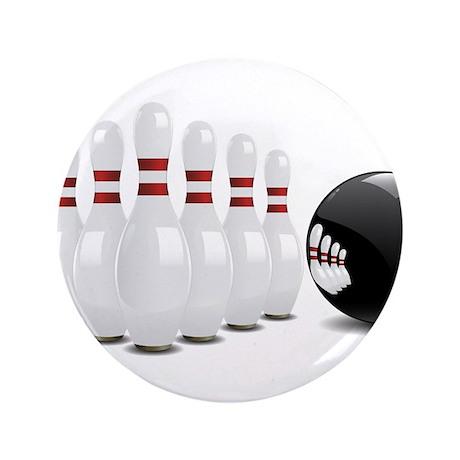 "Bowling, Ball, Pins 3.5"" Button"