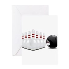 Bowling, Ball, Pins Greeting Cards