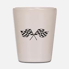 Checkered Flag, Race, Racing, Motorsports Shot Gla
