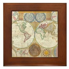 World Map 1794 Framed Tile