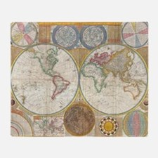World Map 1794 Throw Blanket