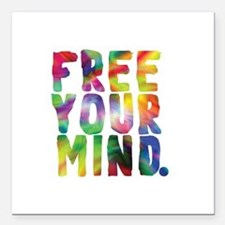 "FREE YOUR MIND Square Car Magnet 3"" x 3"""