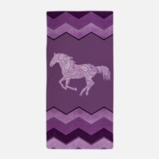 Purple Paisley Horse Beach Towel