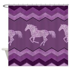 Purple Paisley Horse Shower Curtain