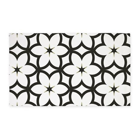 Black And White Flowers 3 39 X5 39 Area Rug By Bestgear