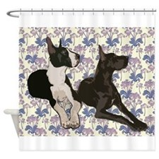 Great Danes and Flowers Shower Curtain