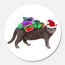 Santa Cat Presents Round Car Magnet