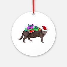 Santa Cat Presents Ornament (Round)