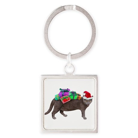Santa Cat Presents Square Keychain