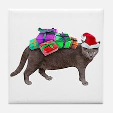 Santa Cat Presents Tile Coaster