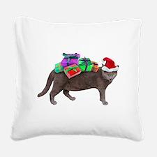 Santa Cat Presents Square Canvas Pillow