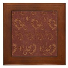 Embossed Brown Leather Effect Framed Tile