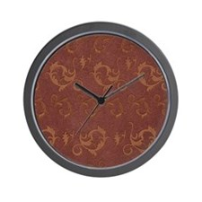Embossed Brown Leather Effect Wall Clock