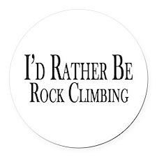 Rather Be Rock Climbing Round Car Magnet