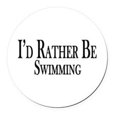 Rather Be Swimming Round Car Magnet